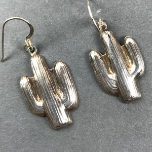 Vintage Sterling Silver Cactus Earrings